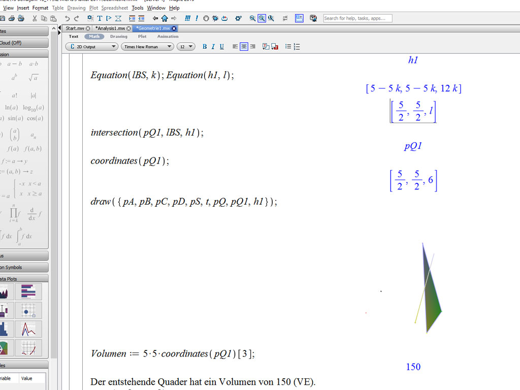 3D-Geometrie mit Maple